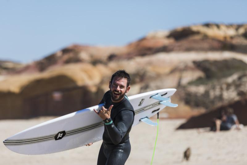 Verbinde Surfen Lernen Spaß Portugal Surfkurs