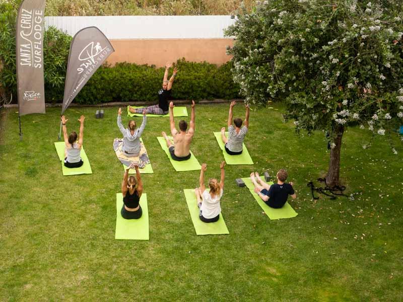 yoga session surfcamp portugal